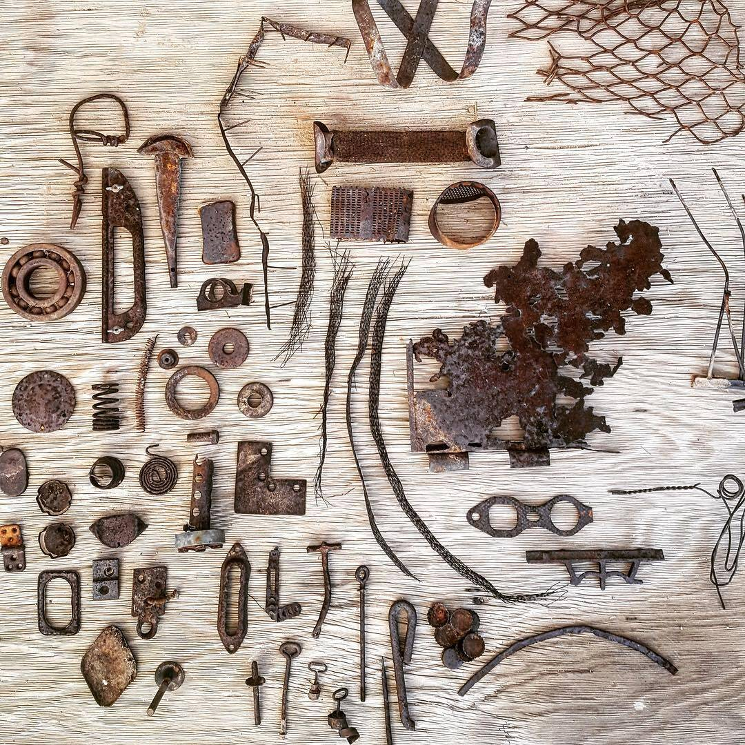 scavenged rusty bits from the desert junk piles for rust-dying t-shirts. Those are some real scores!